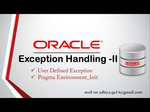 PL/SQL Tutorial | User Defined Exception | Pragma Exception_INIT in Oracle Database 11g