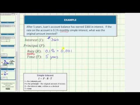 Simple Interest - Determine Principal Balance (Monthly Interest)