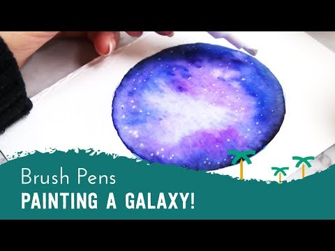 Beginner's Guide to Painting a Galaxy with Brush Pens,  Water Brush & Chalk Pens | Stationery Island