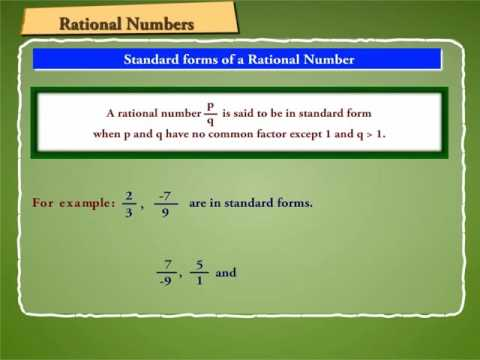 Standard form of a Rational Number