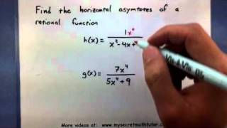 Pre Calculus Find The Horizontal Asymptotes Of A Rational Function