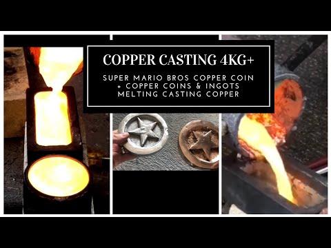MELTING 4KG OF COPPER - CASTING COPPER - INGOTS & MARIO COPPER COINS SANDCASTING  & MORE