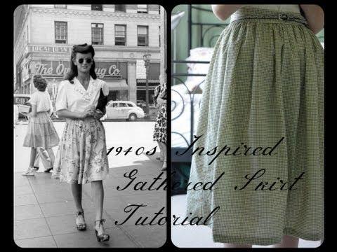 DIY 1940s Inspired Gathered Skirt Sewing Tutorial