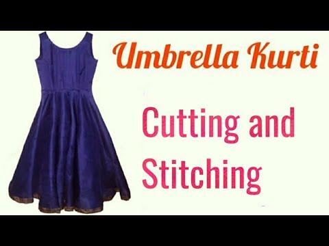Umbrella Kurti Cutting and Stitching (Easy Method) in Hindi.