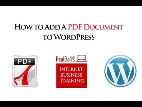 Add PDF Documents to WordPress - How to