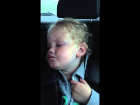 Martha trying not to fall asleep in the car, even the haribo sweet didn't stop her though, lol