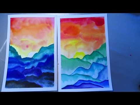Chinese Watercolor tutorial - Mountain sun