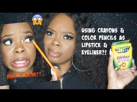 Another Hack! Using Crayons & Color Pencils As Lipstick & Eyeliner.. Bruh! | Jamiiiiiiiie