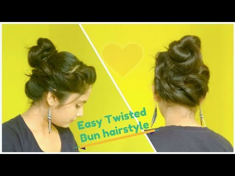 Easy Twisted Bun Hairstyle For Medium Hair ★ Elegant Messy Bun Hair Tutorial For Party/Functions