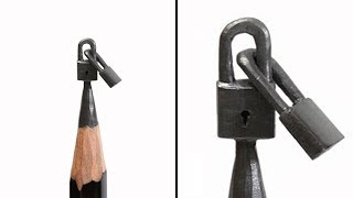Carving Two Locks Into a Pencil Tip