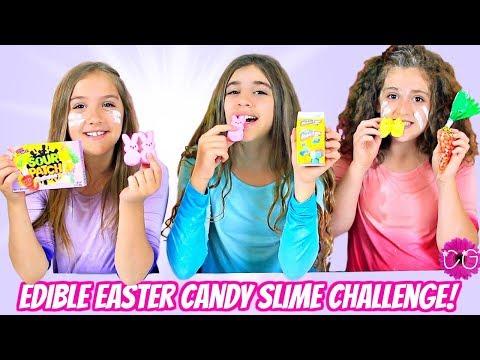 Edible Easter Slime Challenge - Real Easter Candy Slime! 😂