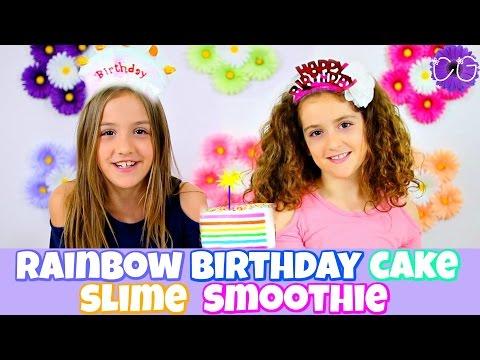 RAINBOW CAKE SLIME!  TWIN BIRTHDAY PARTY + BABY PHOTOS!