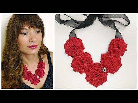 DIY Ribbon rose necklace I How to make ribbon roses
