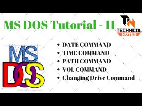 TIME, DATE, PATH, CHANGE DRIVE, VOL COMMAND in DOS