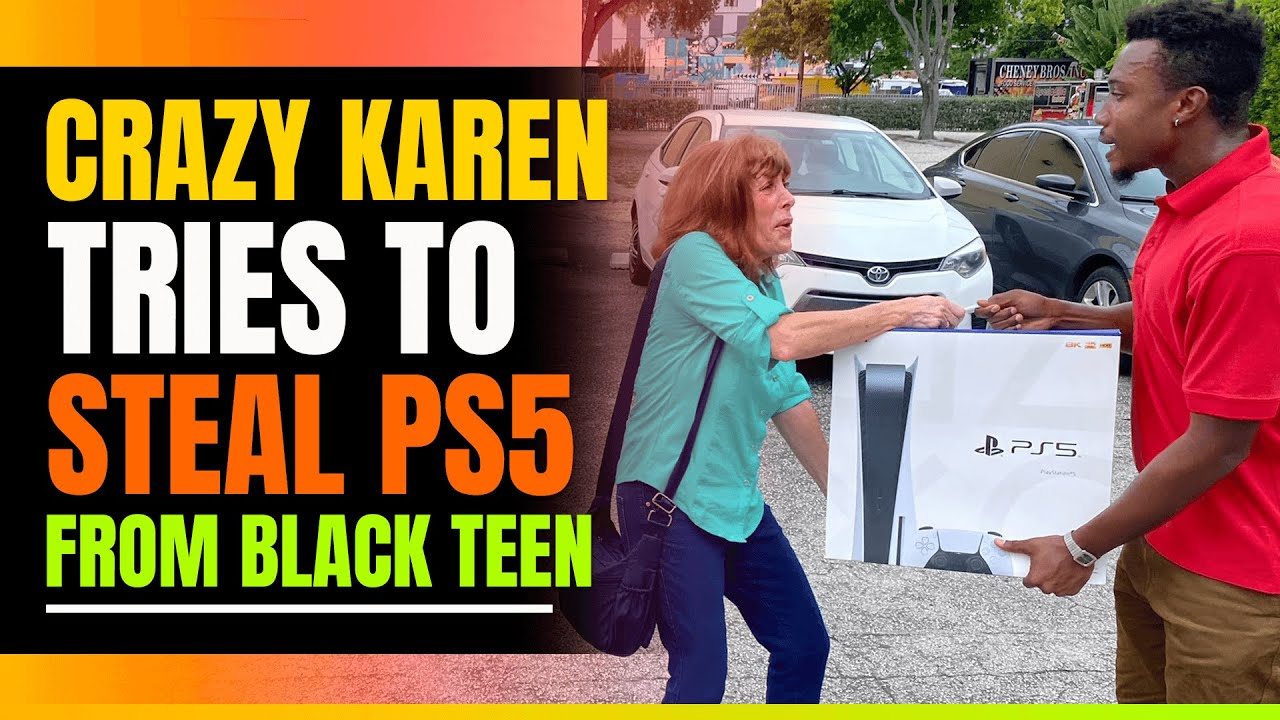 Crazy Karen Tries to Steal Playstation 5 from Black Teen. Then She Calls The Police On Him