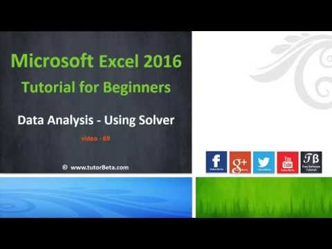 68    Data Analysis & Using Solver   Microsoft Excel 2016 Beginner Course