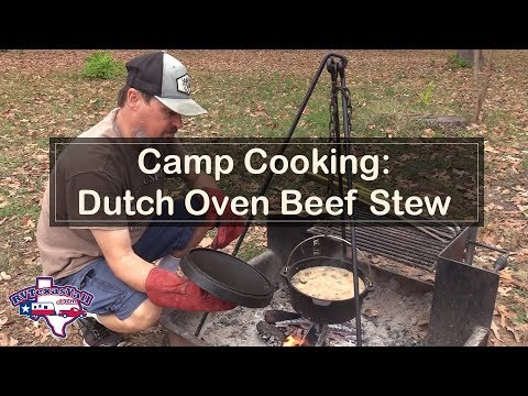 Dutch Oven Beef Stew Cooked Over a Campfire | RV Texas