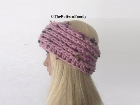How to Crochet Camel Stitch Earwarmers / Headband Pattern #490│by ThePatternFamily