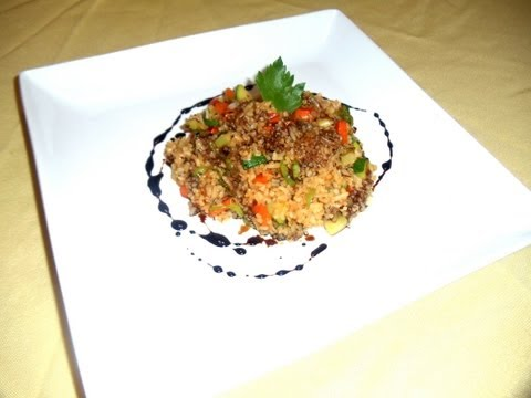 Vegetable Fried Rice with Balsamic Reduction