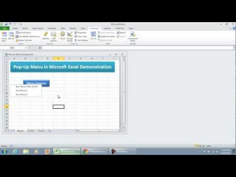 How to create a Pop Up Menu in Microsoft Excel 2010 (Demonstration)