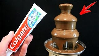 EXPERIMENT What Happen if You Drop Toothpaste into CHOCOLATE FOUNTAIN