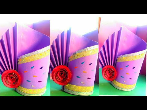 DIY Paper crafts !! how to make easy and unique flower vase from paper - cool and creative