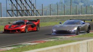Battle Ferrari FXX-K vs Aston Martin Vulcan Racing at Mugello