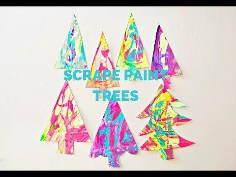 Paint Scrape Christmas Tree Art