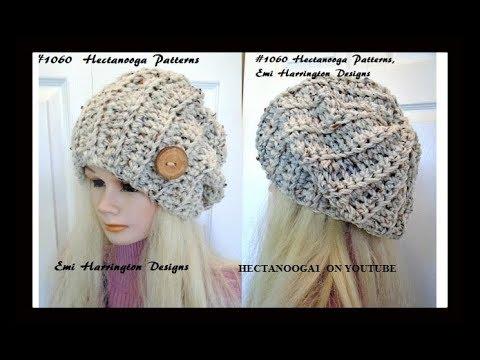 Free Crochet pattern- Beginner UNISEX SLOUCHY HAT , adult size, #1060,