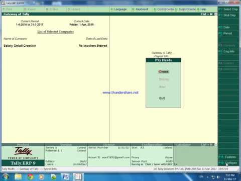 Salary Creation in Payroll with Tally ERP 9