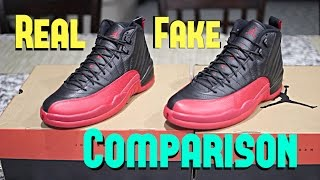 huge discount ad995 b26cf Real vs. Fake Air Jordan 12 Flu Game Bred 2016 Legit Check ...
