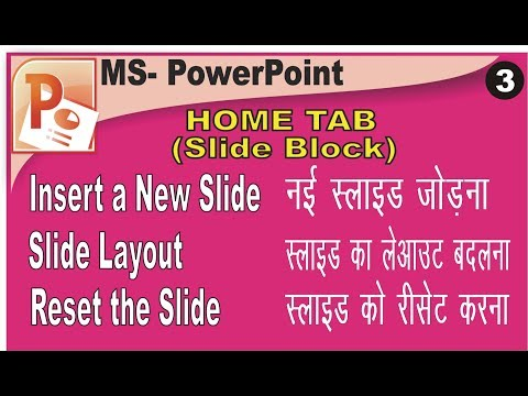 How to Insert a New Slide, Change Slide Layout, Reset Slide Format in PowerPoint in Hindi
