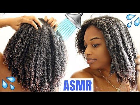 ASMR NATURAL HAIR WASHING | NO TALKING | SCALP SCRATCHING, WATER AND BRUSHING HAIR