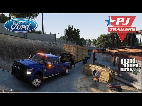 Gand Theft Auto v 2014 Ford F350 Superduty [Pj goose neck Trailer][heavy haul]