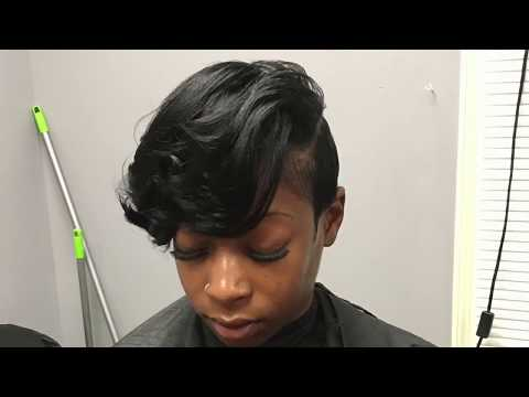 Asymmetrical Haircut on Relaxed hair