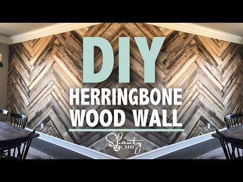 DIY Barn Wood Herringbone Wall + GIVEAWAY| Shanty2Chic