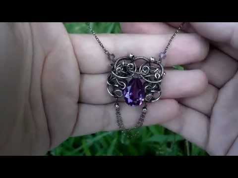 Regal Alexandria necklace color change Russian Alexandrite Sterling silver freeform