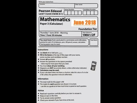 Edexcel GCSE 9-1 Math - Calculator Question Paper 2F - June 2018