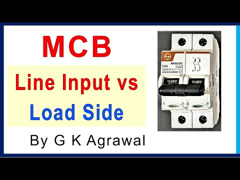 MCB connection - line side and load side connections