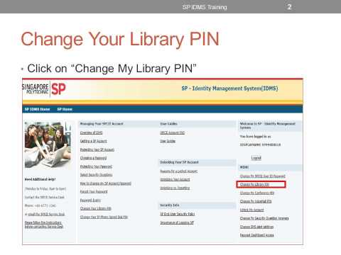 Change library PIN