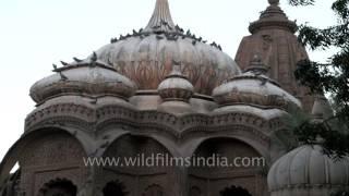Ancient curved rock temples of Hindu gods and goddess at Mandor garden in Jodhpur