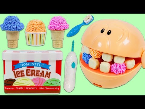 Feeding Mr. Play Doh Head Play Foam Ice Cream and Visiting the Dentist!
