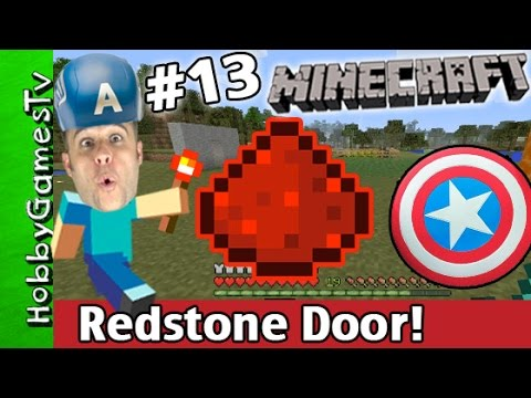 Minecraft REDSTONE Secret DOOR Tutorial! Xbox One Silly Captain America Hat HobbyGamesTV