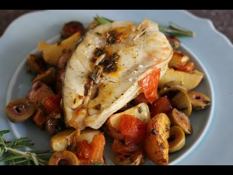 SEARED AND BAKED FISH WITH OLIVES TOMATO AND HERBED  POTATO