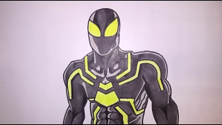 How To Draw Spiderman Step By Step Big Time Stealth Suit Glow In