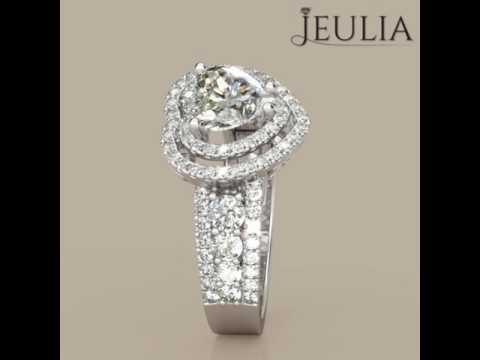 Jeulia Double Halo Heart Cut Created White Sapphire Engagement Ring - Jeulia.com