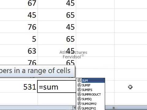 Lecture No 6 Sum Formula Ms Excel 2007 in Urdu