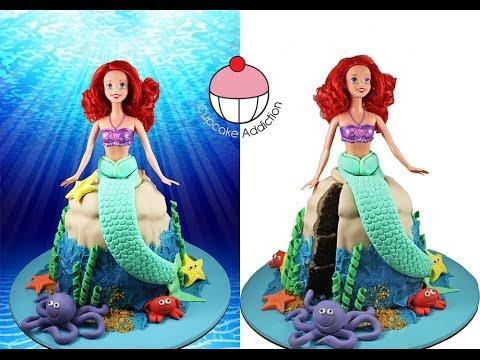 MERMAID CAKE! Make a Princess Ariel Little Mermaid Cake - A Cupcake Addiction How To Tutorial