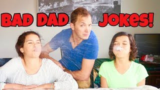 TRY NOT TO LAUGH CHALLENGE!! really bad dad jokes part 2!
