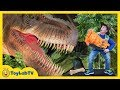 Giant T Rex Life Size Dinosaur Chases Park Rangers With Nerf Toys At Jurassic Dinosaurs Event